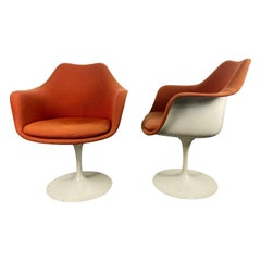 Early Production Eero Saarinen for Knoll Upholstered Tulip Arm Chairs
