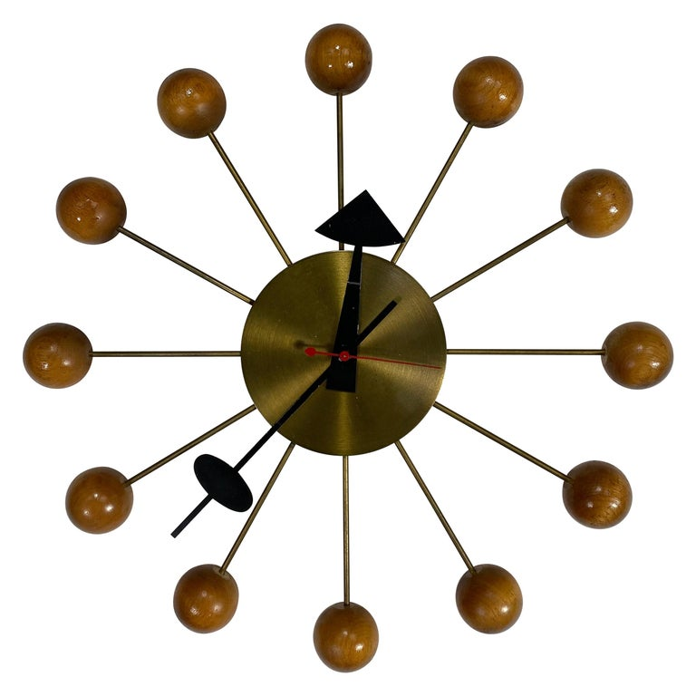 Early Production George Nelson Natural Wood Ball Clock #4755, Howard Miller For Sale
