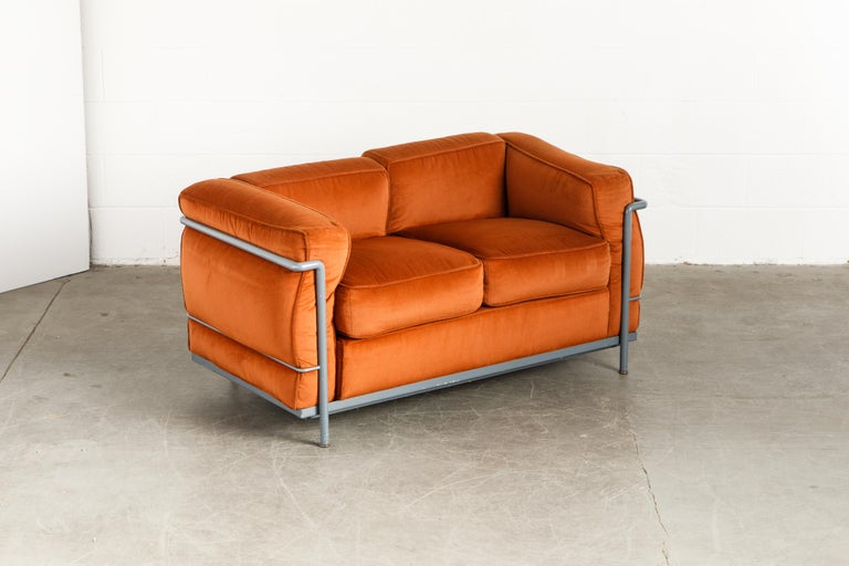 Bauhaus Early Production LC2 Loveseat Sofa by Le Corbusier for Cassina, c. 1965, Signed For Sale