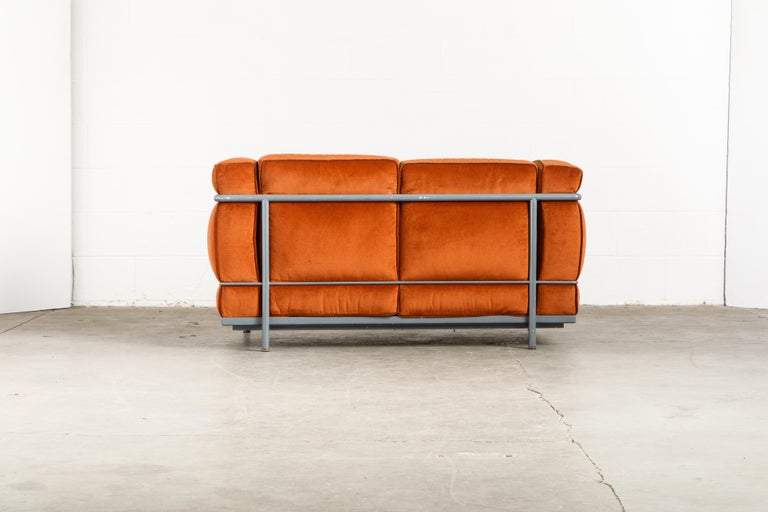 Steel Early Production LC2 Loveseat Sofa by Le Corbusier for Cassina, c. 1965, Signed For Sale