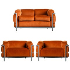 Early Production 'LC3' and 'LC2' Set by Le Corbusier for Cassina, Signed