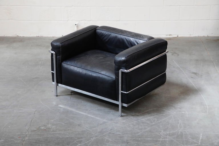 Italian Early Production 'LC3' Lounge Chairs by Le Corbusier for Cassina, Signed For Sale