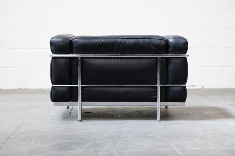 Leather Early Production 'LC3' Lounge Chairs by Le Corbusier for Cassina, Signed For Sale