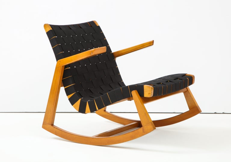 Rocker designed by Minneapolis-based architect Ralph Rapson. Part of a line of chairs designed for Knoll and produced for a short time just after WWII. Rapson was a student at Cranbrook and contemporary of Charles Eames, Florence Schust (Knoll) and