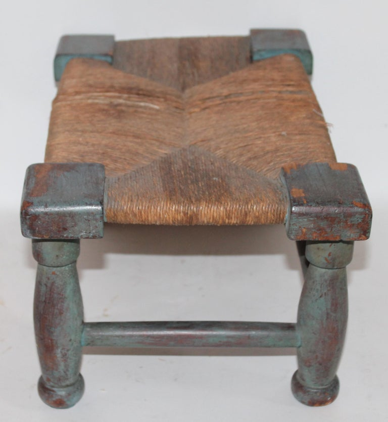 American Early and Rare N.E. 18th Century Original Blue Painted Queen Anne Foot Stool For Sale