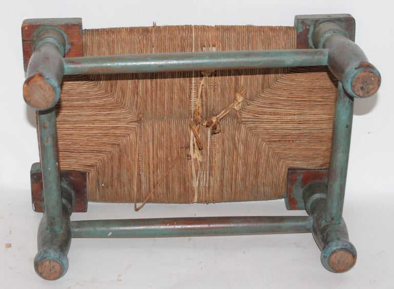 Wicker Early and Rare N.E. 18th Century Original Blue Painted Queen Anne Foot Stool For Sale