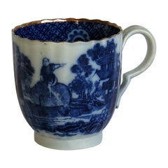 Early Rare Spode Coffee Cup Blue and White Boy on a Buffalo Pattern, circa 1790