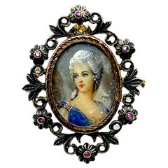 Early Renaissance Cameo Painted Pin with Diamonds with Rich Colors