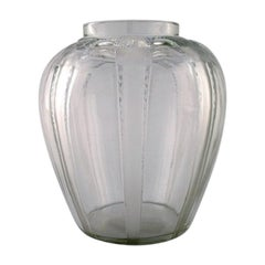 "Early René Lalique, ""Cariatides"" Vase in Art Glass with Naked Women"