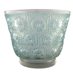 "Early René Lalique, Large ""Edelweiss"" Bowl in Turquoise Art Glass"