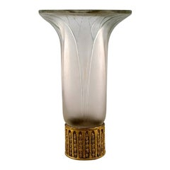 """Early René Lalique """"Lotus"""" Vase in Art Glass with Base of Brass"""