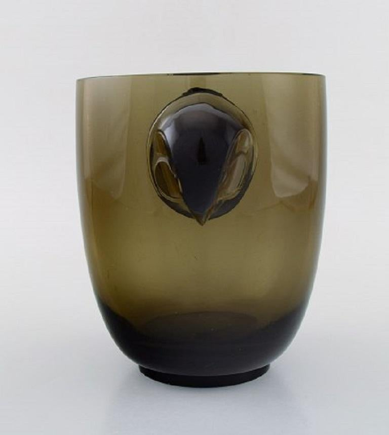 Art Deco Early René Lalique Vase, Topaz Glass with a Moulded Hawk Head on Either Side