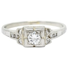 Early Retro 0.35 Carat Diamond Platinum Square Form Engagement Ring