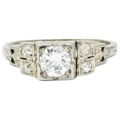 Early Retro 0.65 Carat Diamond 18 Karat White Gold Engagement Ring