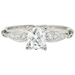 Early Retro 0.75 Carat Old Mine Cut Diamond Platinum Engagement Ring GIA