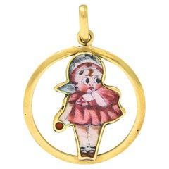 Early Retro Enamel 18 Karat Gold Baby Doll Charm