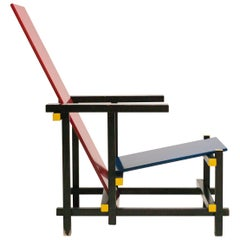 Early Rietveld Red and Blue Chair by Cassina