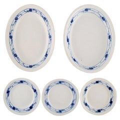 Early Royal Copenhagen Rosebud or Blue Rose Service, Two Dishes and Three Plates