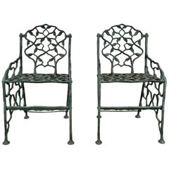 "Early Rustic Cast Iron Garden Chairs ""Twig"" Faux Bois by Fiske"