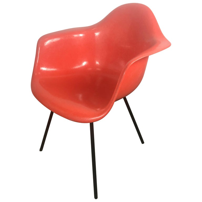 Early Salmon color Charles and Ray Eames Arm Shell Chair, 2nd generation X base For Sale