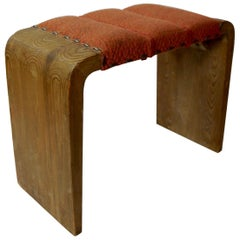 Early Scandinavian Modern Solid Upholstered Pine Stool, Sweden, 1930s