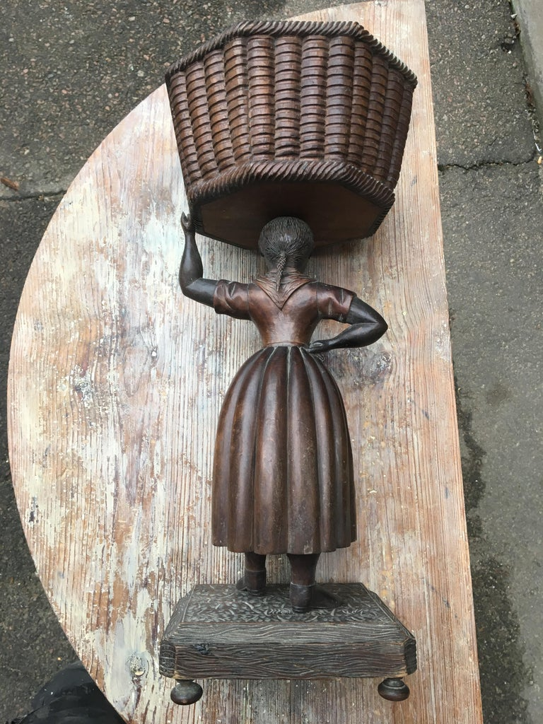 Folk Art Early Sculpture of Basket-Carrying Blackamoor Sculpture For Sale