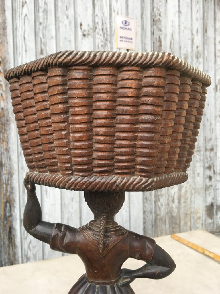 Hand-Carved Early Sculpture of Basket-Carrying Blackamoor Sculpture For Sale
