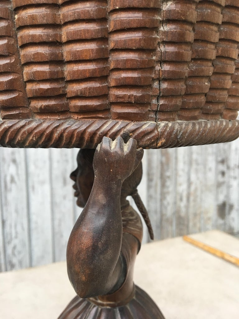 Early Sculpture of Basket-Carrying Blackamoor Sculpture In Good Condition For Sale In Haddonfield, NJ