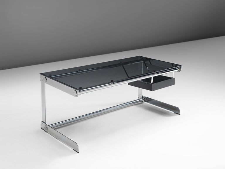 Desk by Gilles Bouchez for Airborne, glass and steel, France, circa 1965.