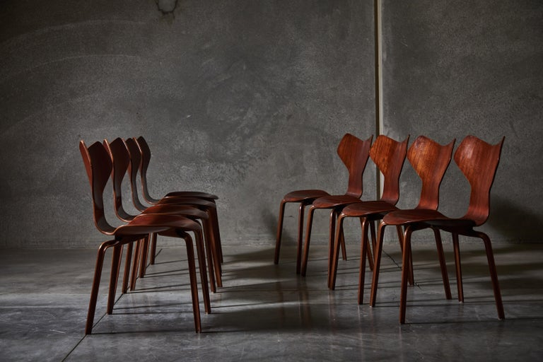 Danish Early Set of Eight Grand Prix Chairs by Arne Jacobsen For Sale