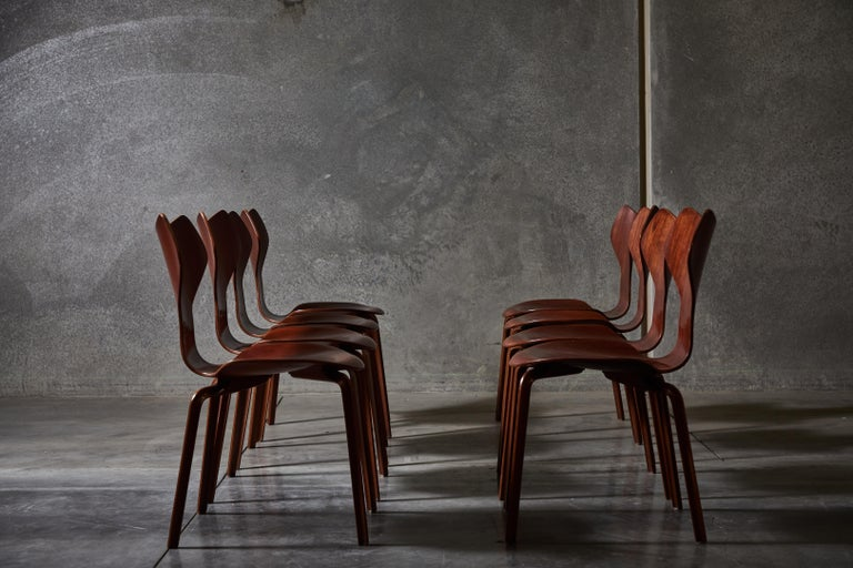 Mid-20th Century Early Set of Eight Grand Prix Chairs by Arne Jacobsen For Sale