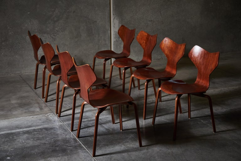 Teak Early Set of Eight Grand Prix Chairs by Arne Jacobsen For Sale