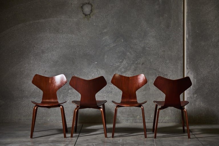 Early Set of Eight Grand Prix Chairs by Arne Jacobsen For Sale 2