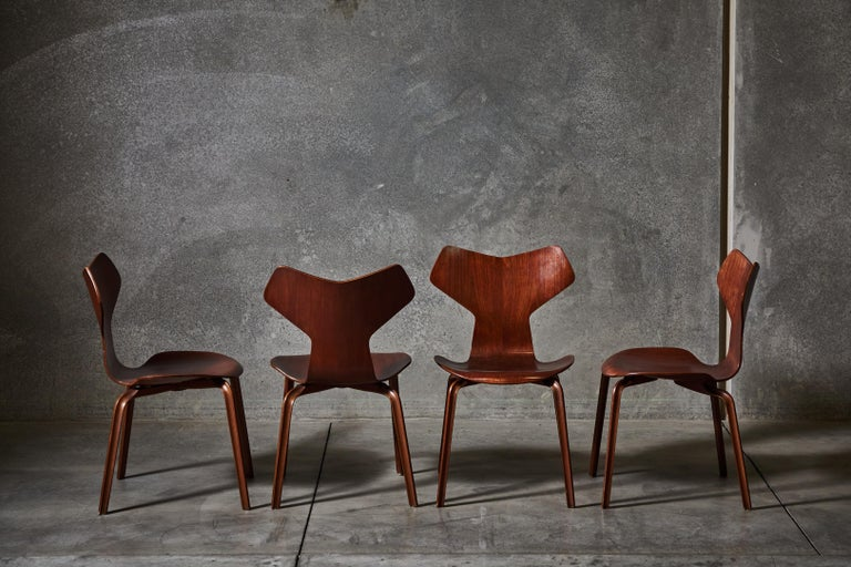 Early Set of Eight Grand Prix Chairs by Arne Jacobsen For Sale 3