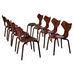 Early Set of Eight Grand Prix Chairs by Arne Jacobsen