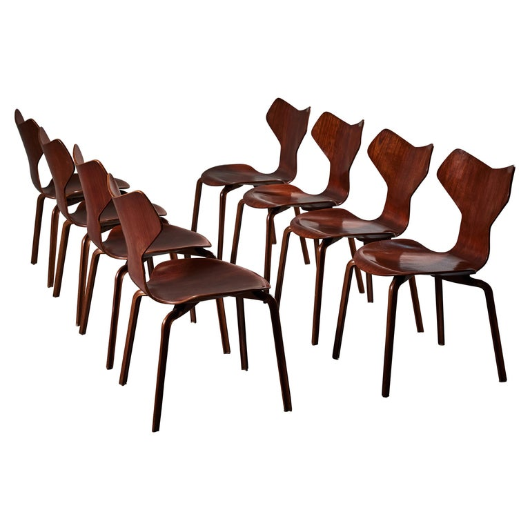 Early Set of Eight Grand Prix Chairs by Arne Jacobsen For Sale