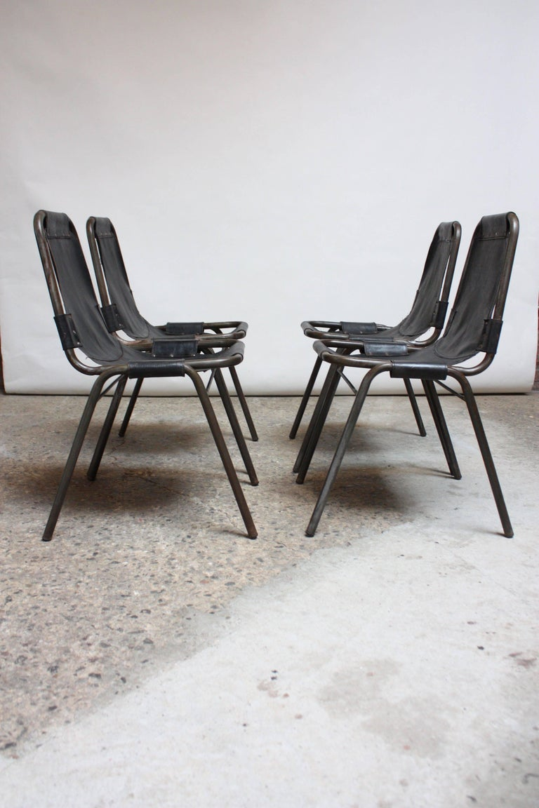Mid-Century Modern Early Set of Four 'Les Arcs' Chairs by Charlotte Perriand For Sale