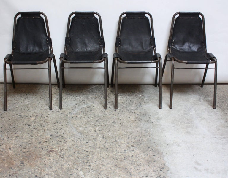 French Early Set of Four 'Les Arcs' Chairs by Charlotte Perriand For Sale