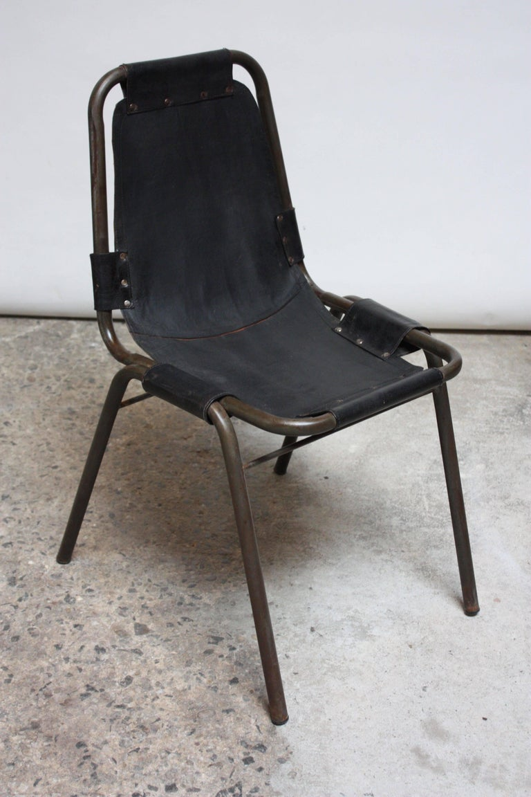 Early Set of Four 'Les Arcs' Chairs by Charlotte Perriand For Sale 1