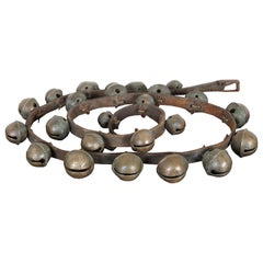 Early Set of Graduated 25 Brass Sleigh Bells Leather Horse Carriage Equine