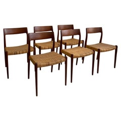 Early Set of Six Niels Moller Chairs No 77, Denmark 1958