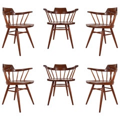 Early Set of Six Spindle Back Captain's Dining Chairs by George Nakashima