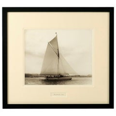 Early Silver Gelatin Photograph Print of the Gaff Rigged Yacht Wayward by Beken