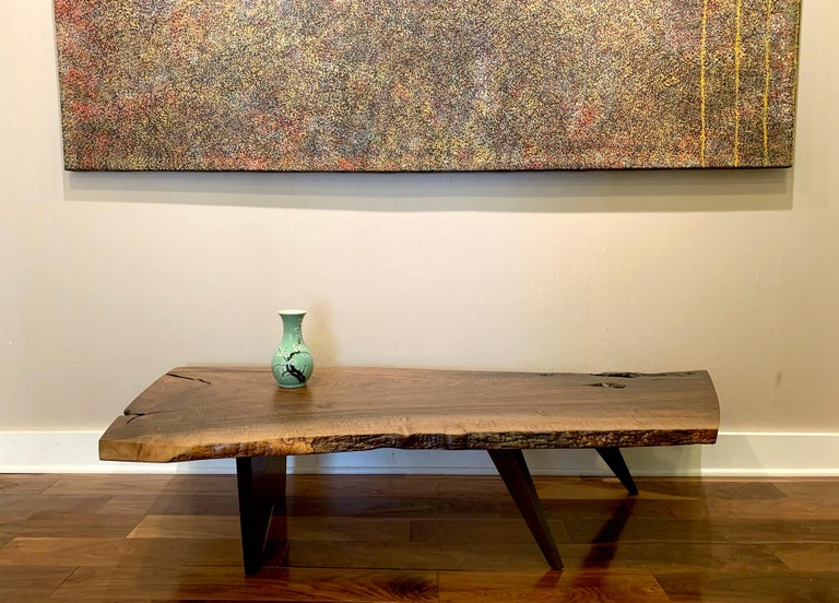 Early Slab Walnut Coffee Table George Nakashima For Sale 9