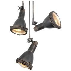 Early Spun Copper and Cast Brass Articulated Spot Light