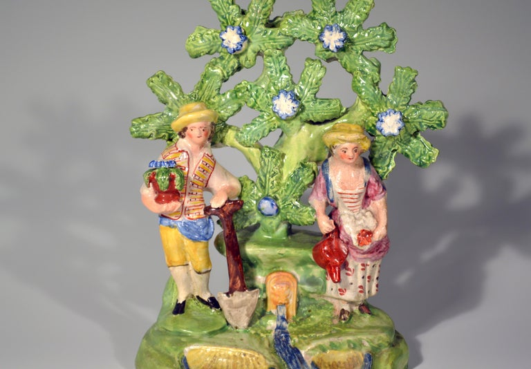 Early Staffordshire Bocage Figure Group of Gardener and Companion, circa 1825 In Good Condition For Sale In Downingtown, PA