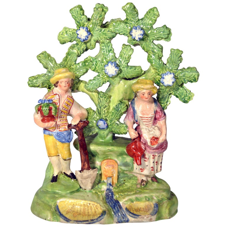 Early Staffordshire Bocage Figure Group of Gardener and Companion, circa 1825 For Sale