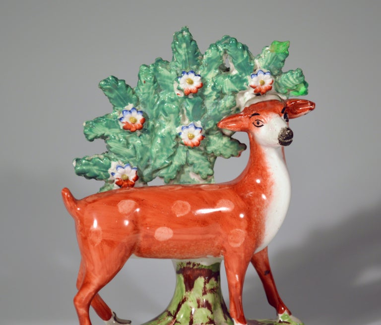 Georgian Early Staffordshire Pearlware Pair of Deer Bocage Figures, circa 1825 For Sale