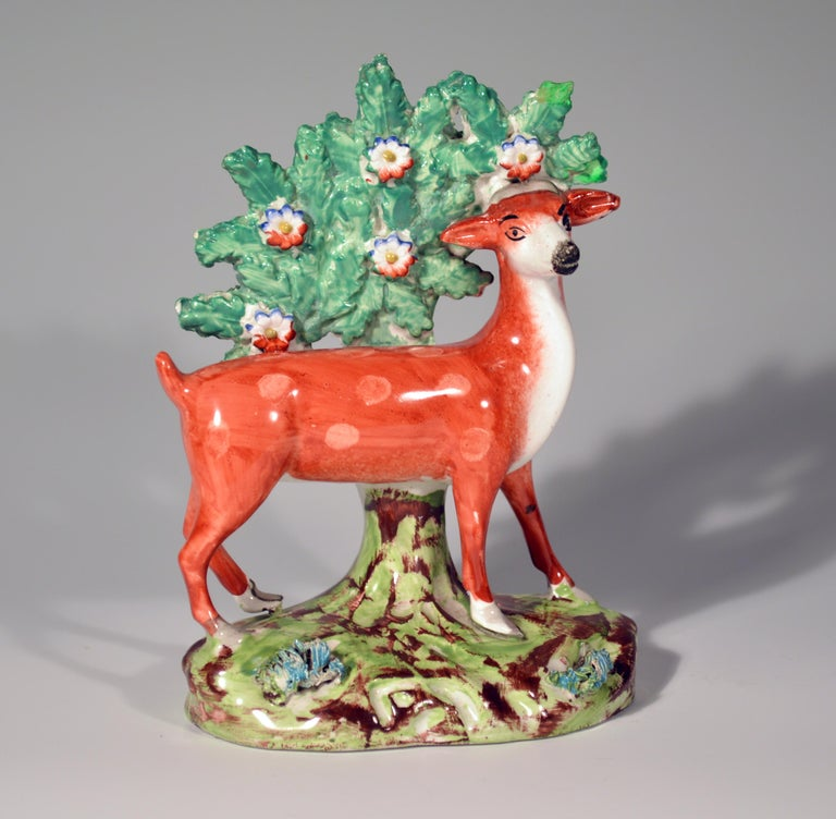 English Early Staffordshire Pearlware Pair of Deer Bocage Figures, circa 1825 For Sale