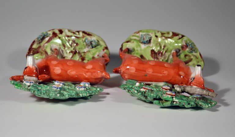 19th Century Early Staffordshire Pearlware Pair of Deer Bocage Figures, circa 1825 For Sale